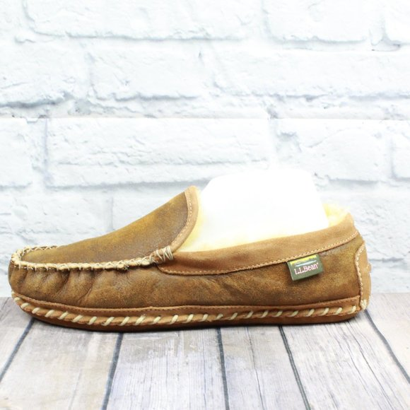 LL BEAN Shearling Lined Wicked Good Moc Size 11 M